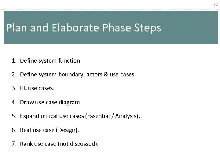 32 Plan and Elaborate Phase Steps 1. Define system function. 2. Define system boundary,