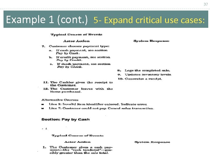 37 Example 1 (cont. ) 5 - Expand critical use cases: