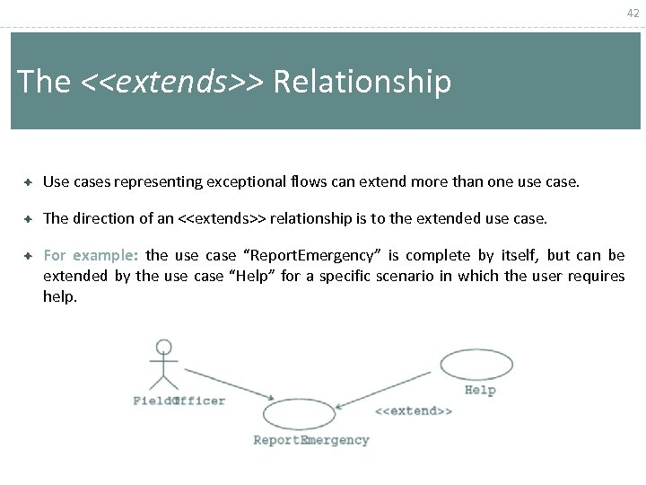 42 The <<extends>> Relationship Use cases representing exceptional flows can extend more than one