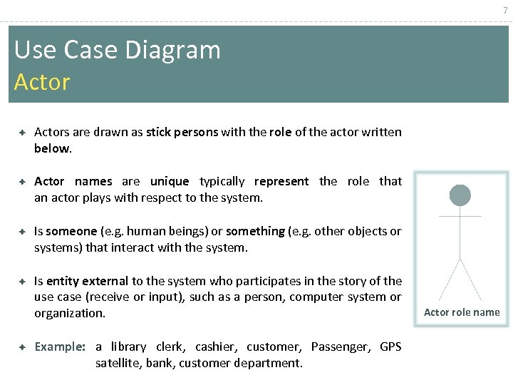 7 Use Case Diagram Actors are drawn as stick persons with the role of