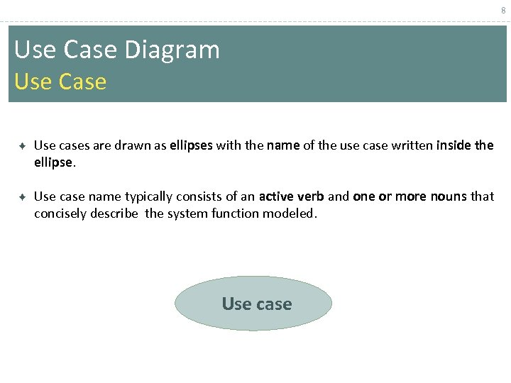 8 Use Case Diagram Use Case Use cases are drawn as ellipses with the