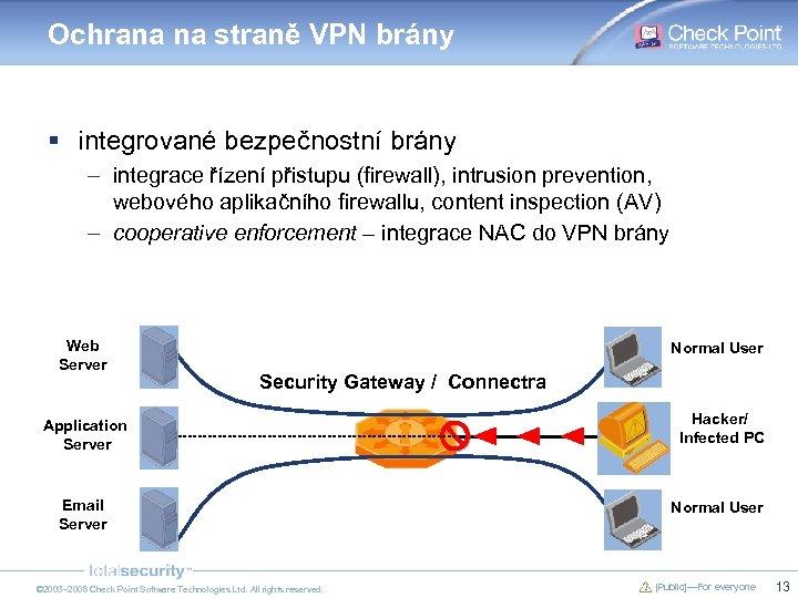 Ochrana na straně VPN brány § integrované bezpečnostní brány – integrace řízení přistupu (firewall),