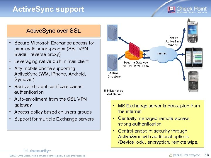 Active. Sync support Active. Sync over SSL • Secure Microsoft Exchange access for users