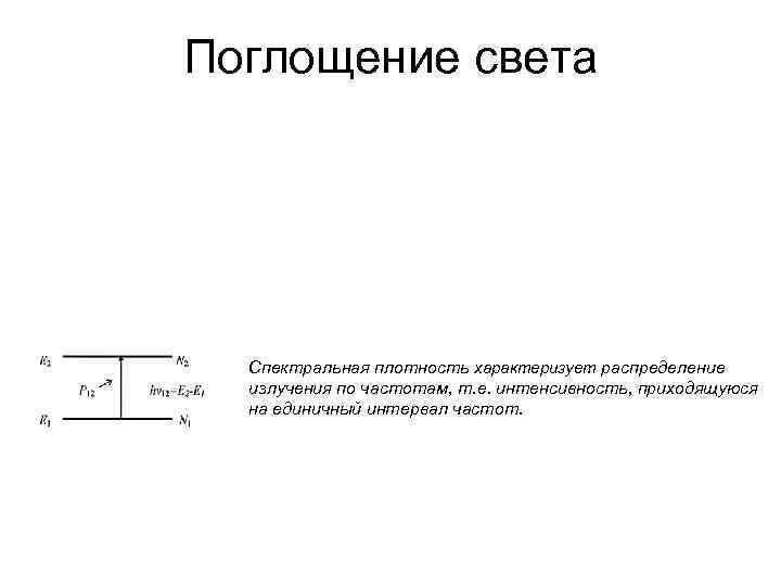 Поглощение света Спектральная плотность характеризует распределение излучения по частотам, т. е. интенсивность, приходящуюся на