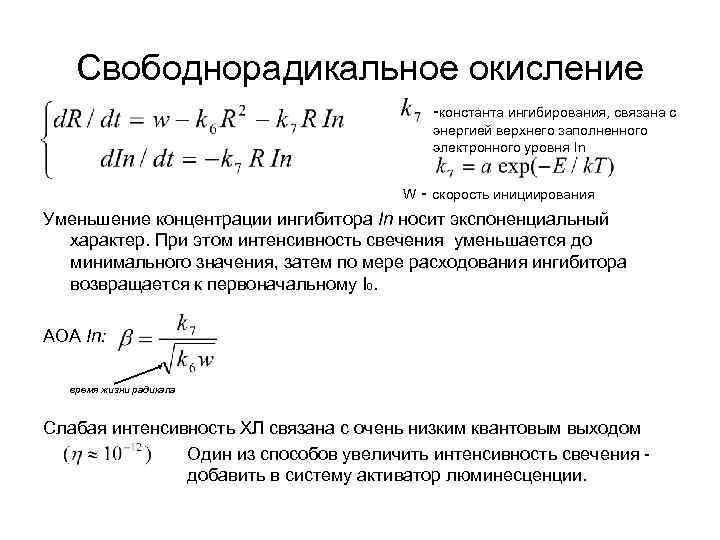 Свободнорадикальное окисление -константа ингибирования, связана с энергией верхнего заполненного электронного уровня In W -
