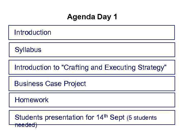 Agenda Day 1 Introduction Syllabus Introduction to Crafting