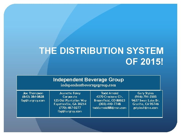 THE DISTRIBUTION SYSTEM OF 2015! Independent Beverage Group independentbeveragegroup. com Joe Thompson (843) 384