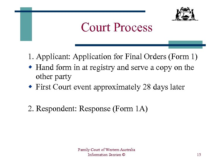 Court Process 1. Applicant: Application for Final Orders (Form 1) w Hand form in