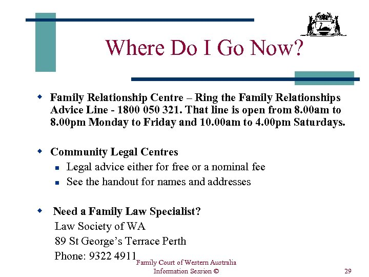 Where Do I Go Now? w Family Relationship Centre – Ring the Family Relationships