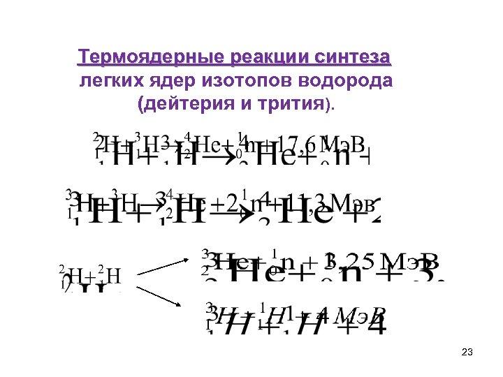 Термоядерные реакции синтеза легких ядер изотопов водорода (дейтерия и трития). 23