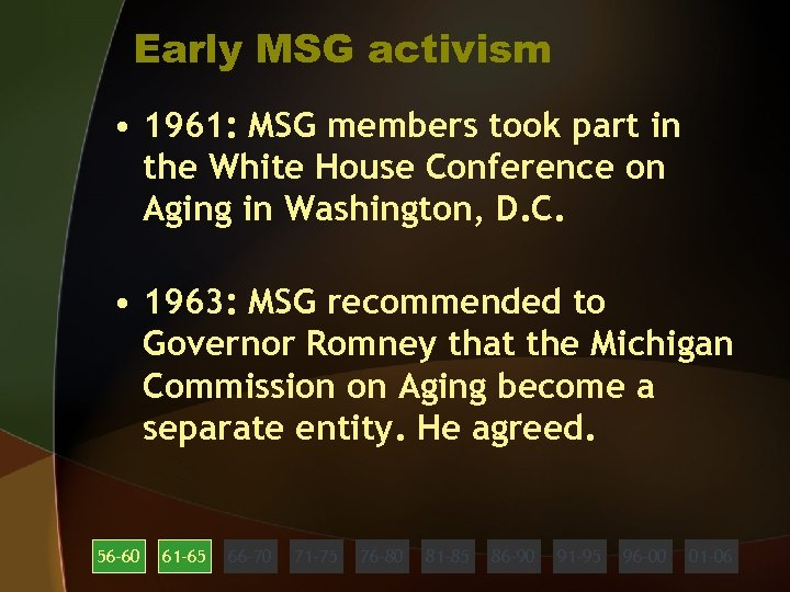 Early MSG activism • 1961: MSG members took part in the White House Conference