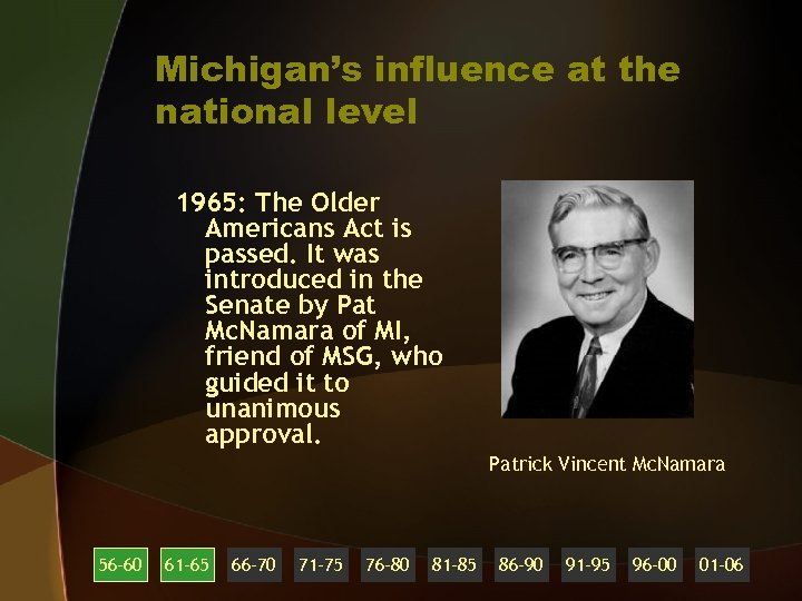 Michigan's influence at the national level 1965: The Older Americans Act is passed. It