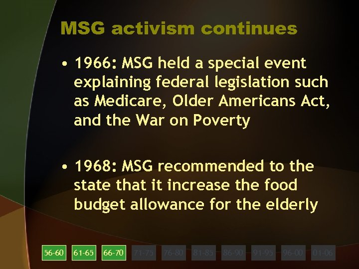 MSG activism continues • 1966: MSG held a special event explaining federal legislation such