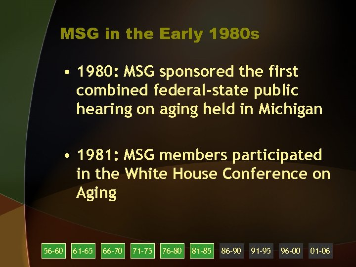 MSG in the Early 1980 s • 1980: MSG sponsored the first combined federal-state