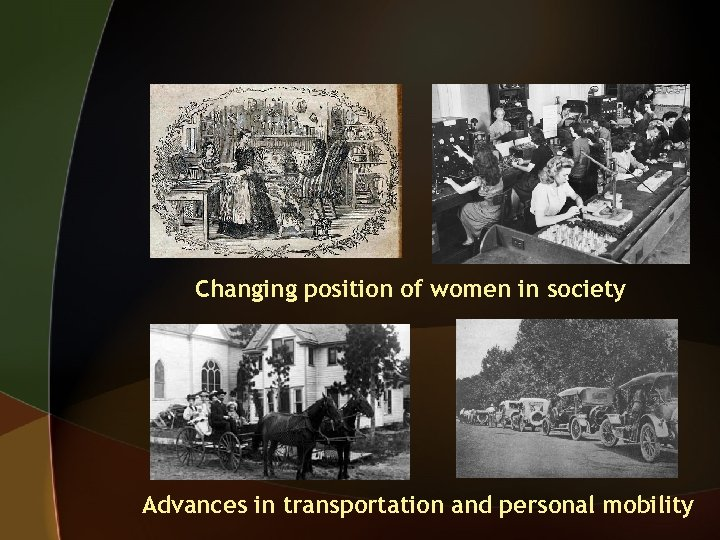 Changing position of women in society Advances in transportation and personal mobility
