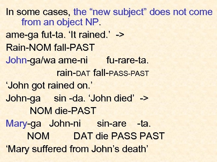 "In some cases, the ""new subject"" does not come from an object NP. ame-ga"