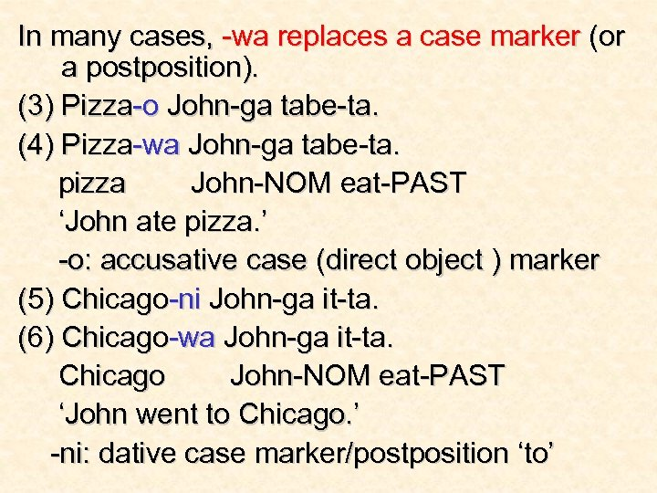 In many cases, -wa replaces a case marker (or a postposition). (3) Pizza-o John-ga