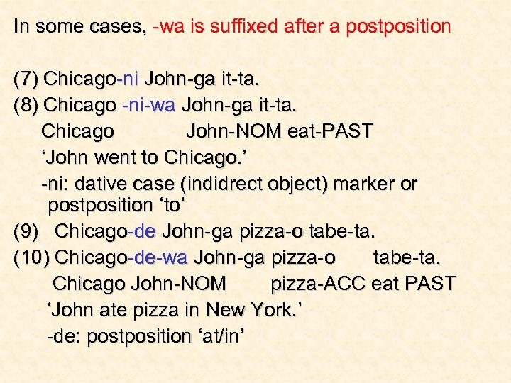 In some cases, -wa is suffixed after a postposition (7) Chicago-ni John-ga it-ta. (8)