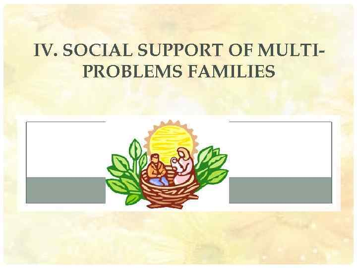 IV. SOCIAL SUPPORT OF MULTIPROBLEMS FAMILIES