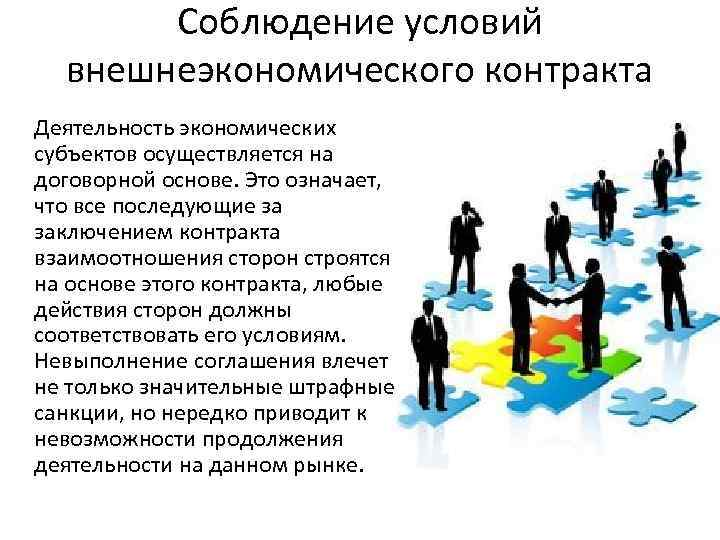 Соблюдение условий внешнеэкономического контракта Деятельность экономических субъектов осуществляется на договорной основе. Это означает, что