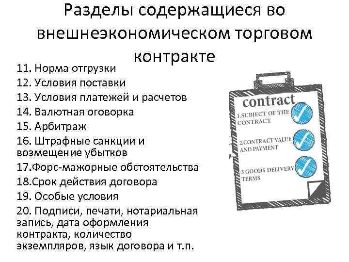 Разделы содержащиеся во внешнеэкономическом торговом контракте 11. Норма отгрузки 12. Условия поставки 13. Условия