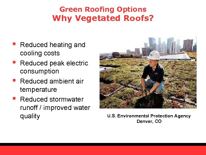 Green Roofing Options Why Vegetated Roofs? § § Reduced heating and cooling costs Reduced