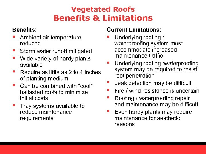 Vegetated Roofs Benefits & Limitations Benefits: Current Limitations: § Ambient air temperature § Underlying