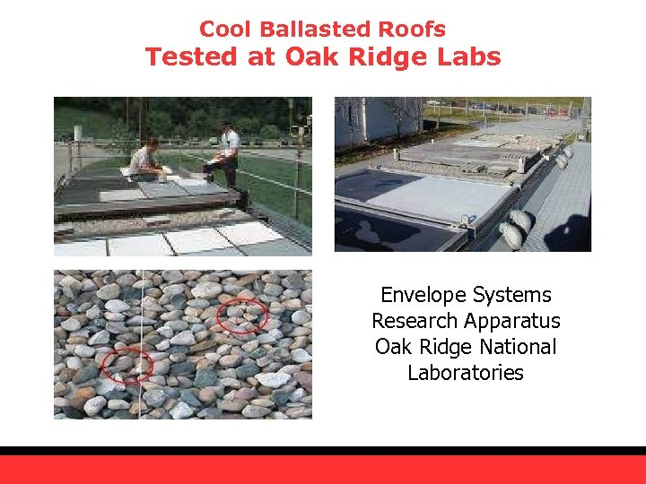 Cool Ballasted Roofs Tested at Oak Ridge Labs Envelope Systems Research Apparatus Oak Ridge