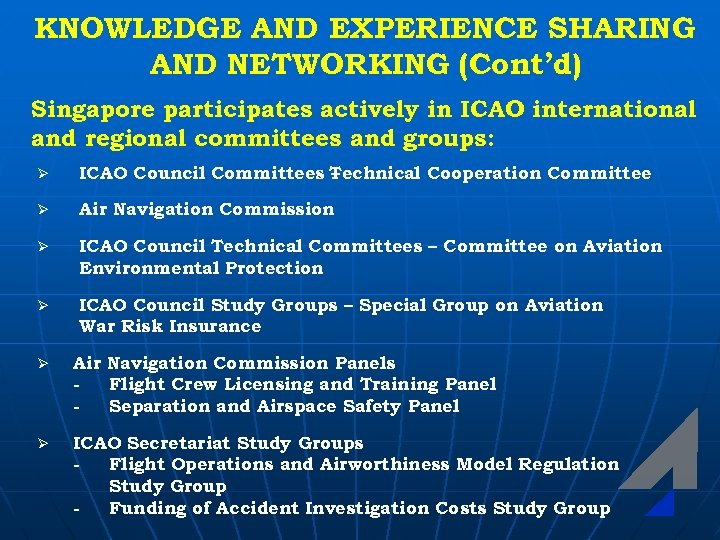 KNOWLEDGE AND EXPERIENCE SHARING AND NETWORKING (Cont'd) Singapore participates actively in ICAO international and