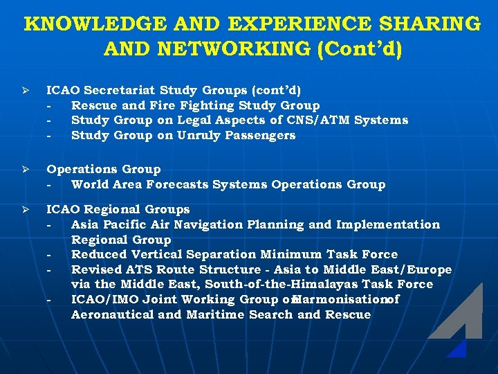 KNOWLEDGE AND EXPERIENCE SHARING AND NETWORKING (Cont'd) Ø ICAO Secretariat Study Groups (cont'd) Rescue