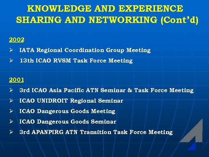 KNOWLEDGE AND EXPERIENCE SHARING AND NETWORKING (Cont'd) 2002 Ø IATA Regional Coordination Group Meeting