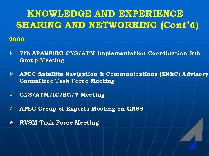 KNOWLEDGE AND EXPERIENCE SHARING AND NETWORKING (Cont'd) 2000 Ø 7 th APANPIRG CNS/ATM Implementation