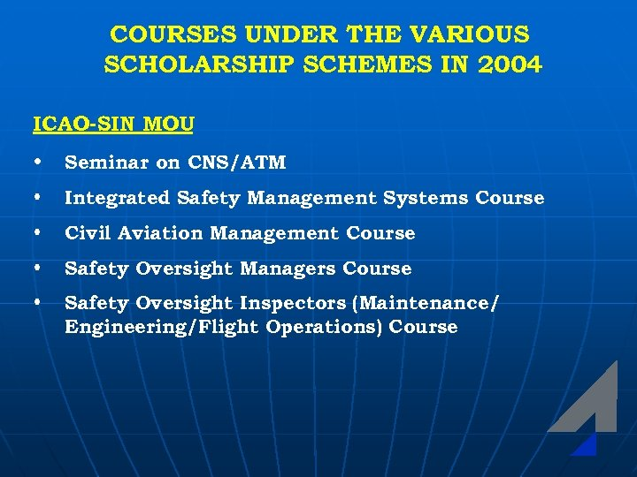 COURSES UNDER THE VARIOUS SCHOLARSHIP SCHEMES IN 2004 ICAO-SIN MOU • Seminar on CNS/ATM