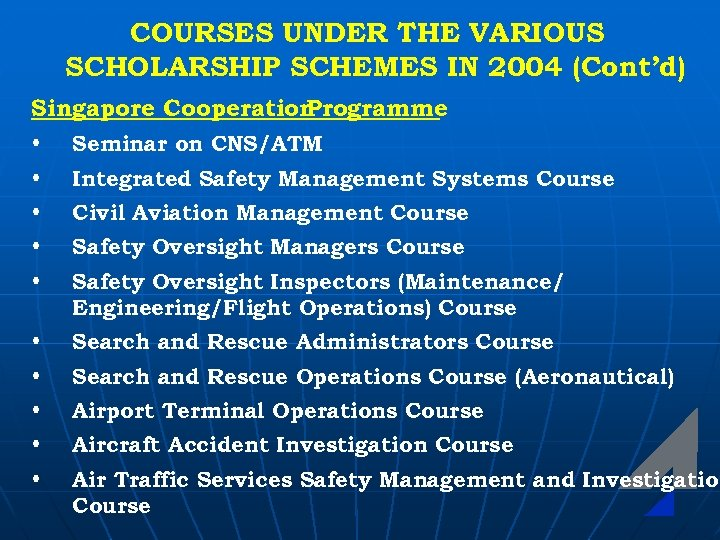 COURSES UNDER THE VARIOUS SCHOLARSHIP SCHEMES IN 2004 (Cont'd) Singapore Cooperation Programme • Seminar