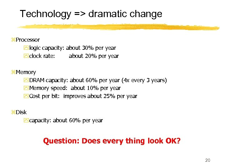 Technology => dramatic change z. Processor ylogic capacity: about 30% per year yclock rate:
