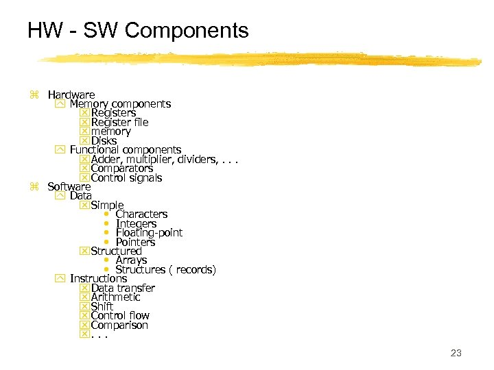 HW - SW Components z Hardware y Memory components x Register file x memory