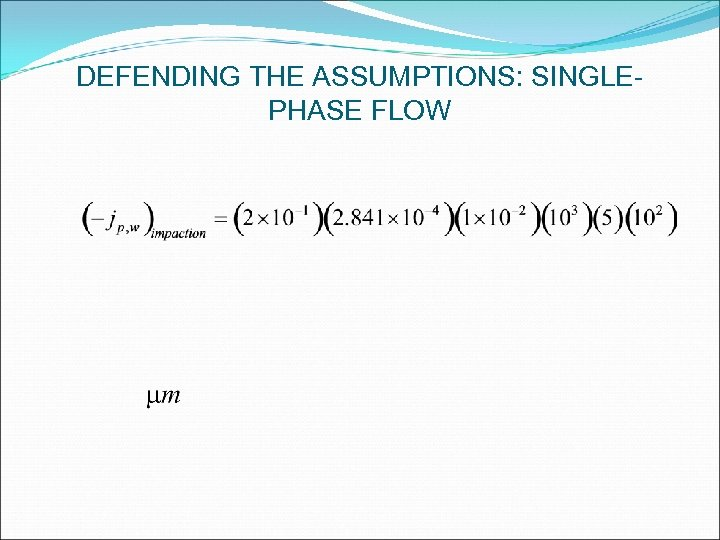 DEFENDING THE ASSUMPTIONS: SINGLEPHASE FLOW