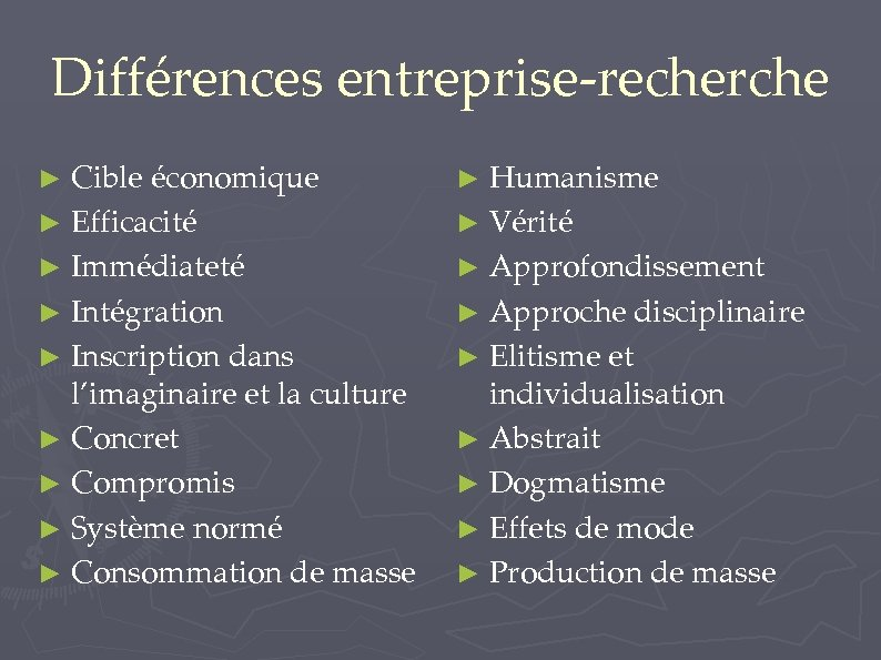 Différences entreprise-recherche ► Cible économique ► Humanisme ► Efficacité ► Vérité ► Immédiateté ►