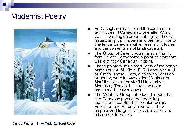 Modernist Poetry n n Donald Flather – Black Tusk, Garibaldi Region As Callaghan refashioned