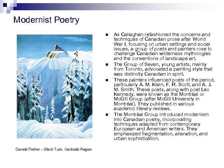 Modernist Poetry n n Donald Flather – Black Tusk, Garibaldi Region As Callaghan refashioned