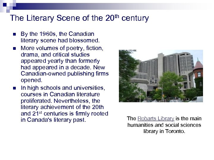 The Literary Scene of the 20 th century n n n By the 1960