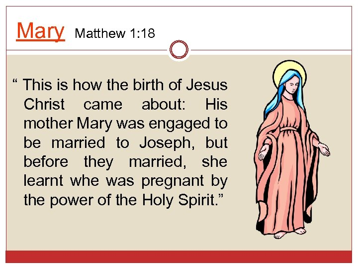 "Mary Matthew 1: 18 "" This is how the birth of Jesus Christ came"