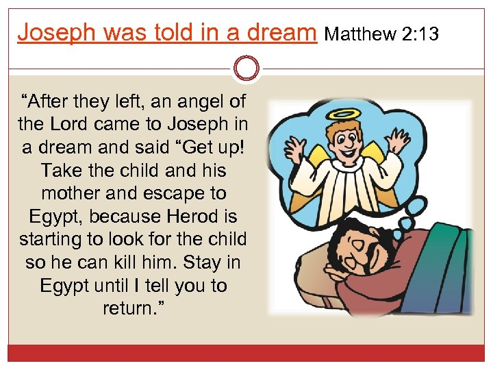 "Joseph was told in a dream Matthew 2: 13 ""After they left, an angel"