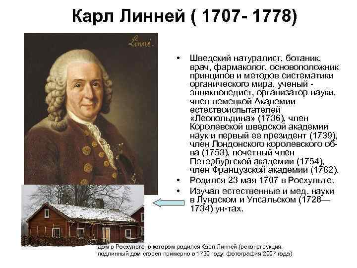 Карл Линней ( 1707 - 1778) • • • Шведский натуралист, ботаник, врач, фармаколог,