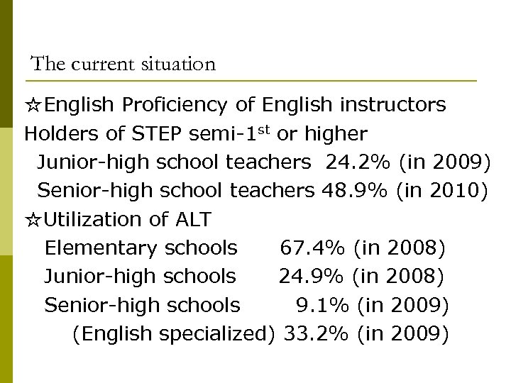 The current situation ☆English Proficiency of English instructors Holders of STEP semi-1 st or