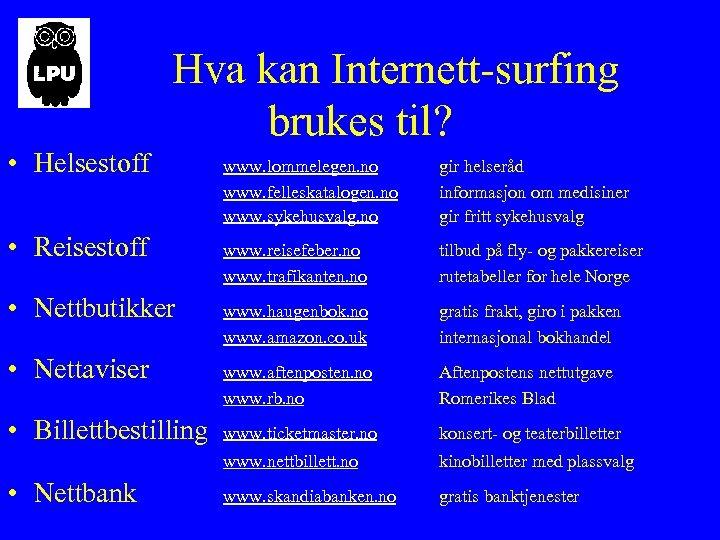 Hva kan Internett-surfing brukes til? • Helsestoff • Nettbutikker • Nettaviser • Billettbestilling •