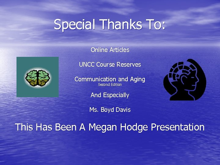 Special Thanks To: Online Articles UNCC Course Reserves Communication and Aging Second Edition And