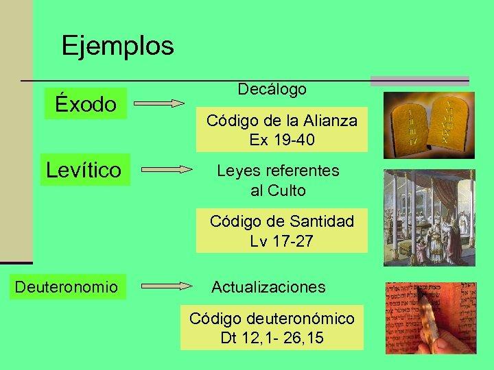 Ejemplos Éxodo Levítico Decálogo Código de la Alianza Ex 19 -40 Leyes referentes al