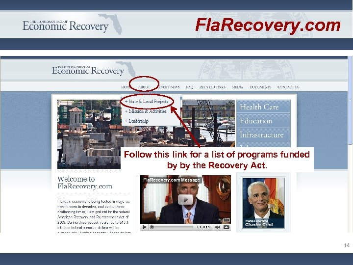 Fla. Recovery. com Follow this link for a list of programs funded by by