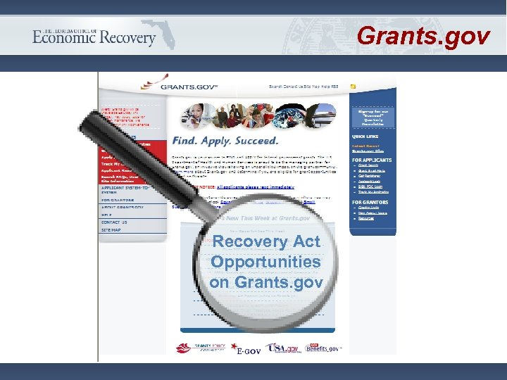 Grants. gov Recovery Act Opportunities on Grants. gov